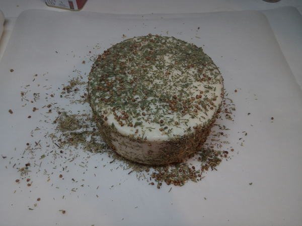 Preparation: covering the cheese with species